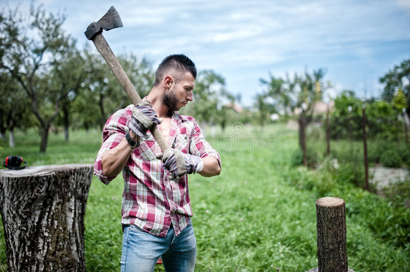 Athletic man lumberjack cutting logs for firewood with axe royalty free stock image