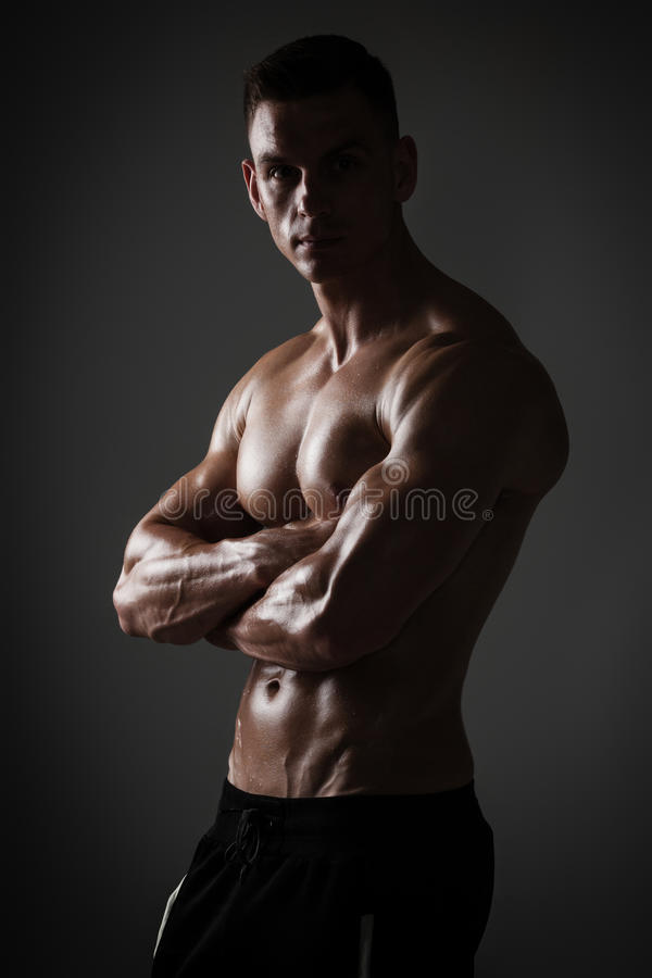 Athletic man posing royalty free stock photography