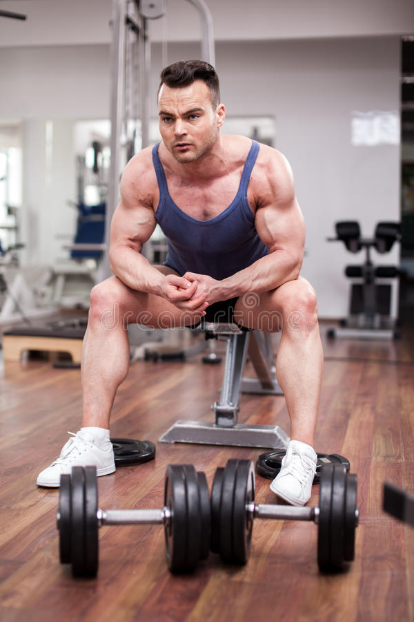 Download Athletic Man Resting On A Bench At The Gym Stock Photo - Image: 39405565