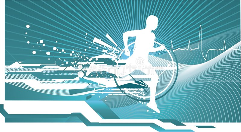 Athletic man running royalty free illustration
