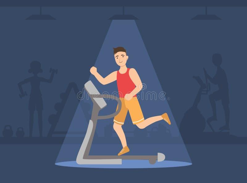 Athletic Man Running on Treadmill, Guy Doing Sport Exercises in Gym Vector Illustration. Web Design royalty free illustration