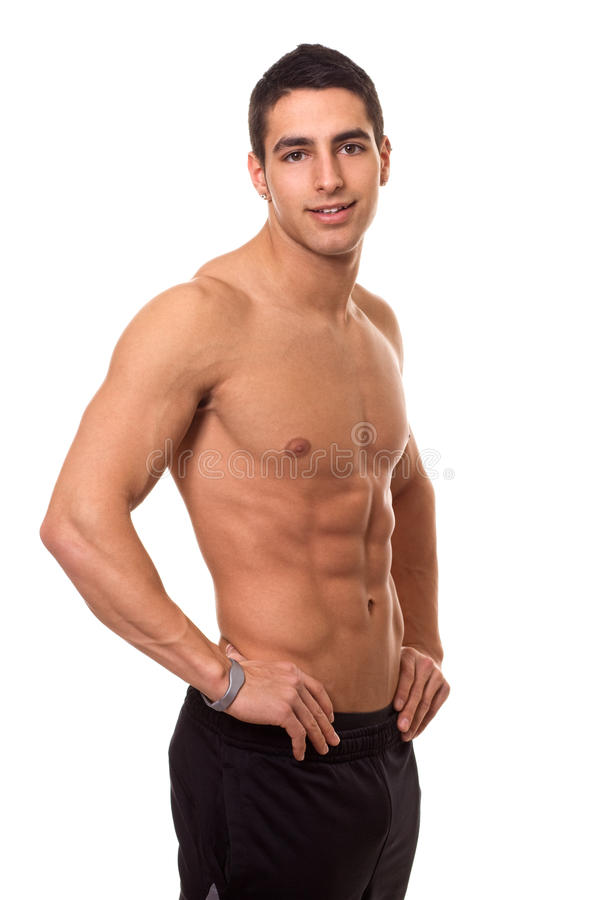 Athletic Man Shirtless. Athletic man, shirtless. Studio shot over white royalty free stock photo