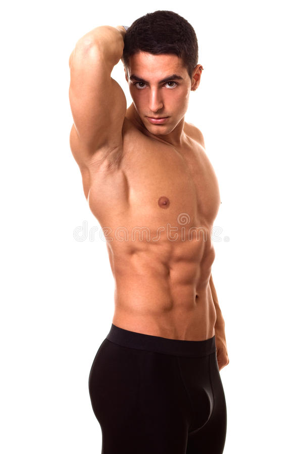 Athletic Man Shirtless. Athletic man, shirtless. Studio shot over white stock photos