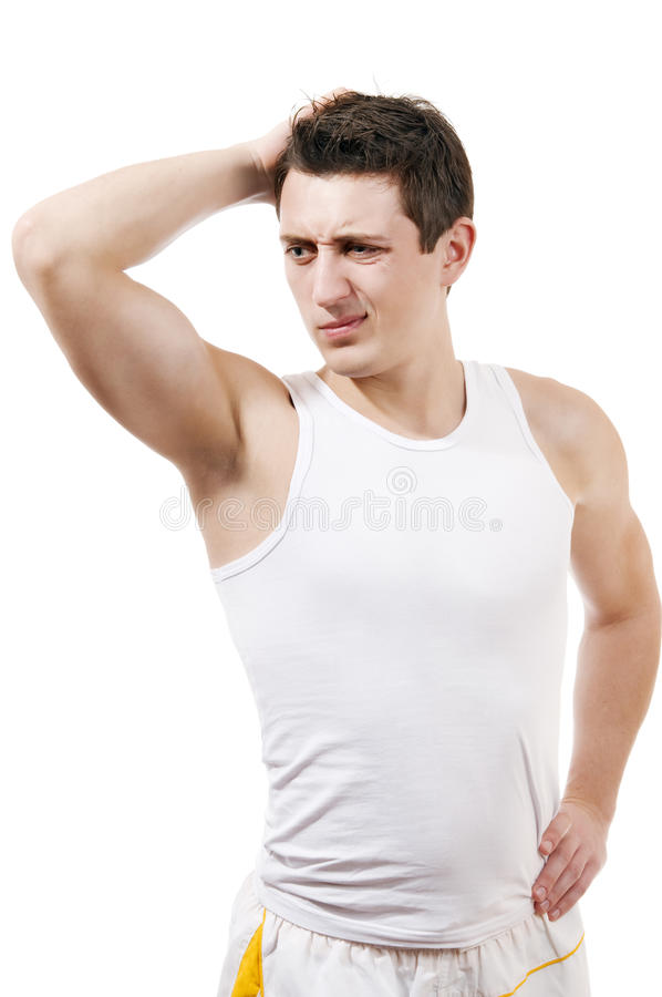 Download Athletic Man With Thinking Expression White Isola Stock Image - Image: 13232959