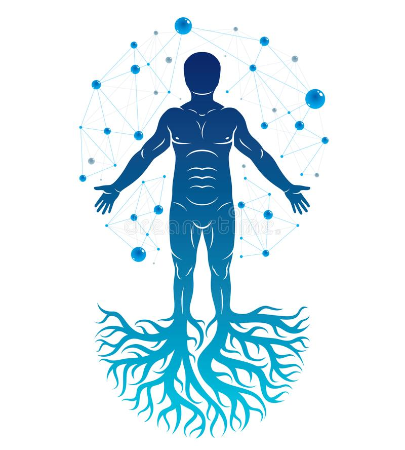 Athletic man vector illustration created with mesh wireframe con. Nections and tree roots. Impact of molecular biotechnology innovations on human health royalty free illustration