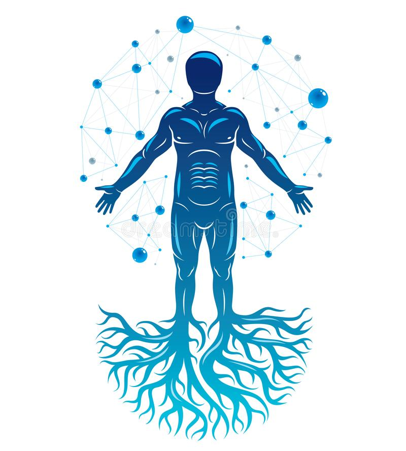 Athletic man vector illustration created with mesh wireframe con. Nections and tree roots. Impact of molecular biotechnology innovations on human health vector illustration