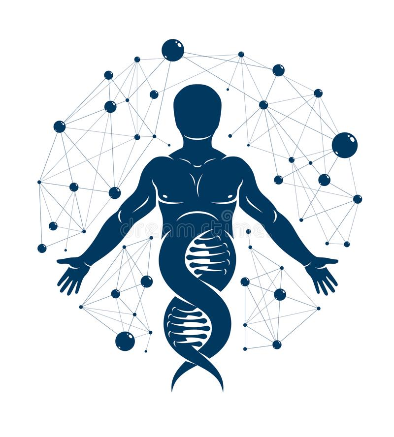 Athletic man vector illustration made using DNA symbol and futuristic molecular connections. Human as the object of biochemistry. Research, genetic engineering royalty free illustration