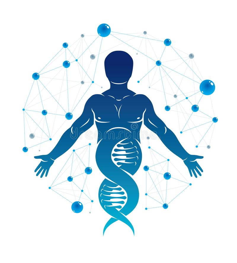 Athletic man vector illustration made using DNA symbol and futuristic molecular connections. Human as the object of biochemistry. Research, genetic engineering stock illustration