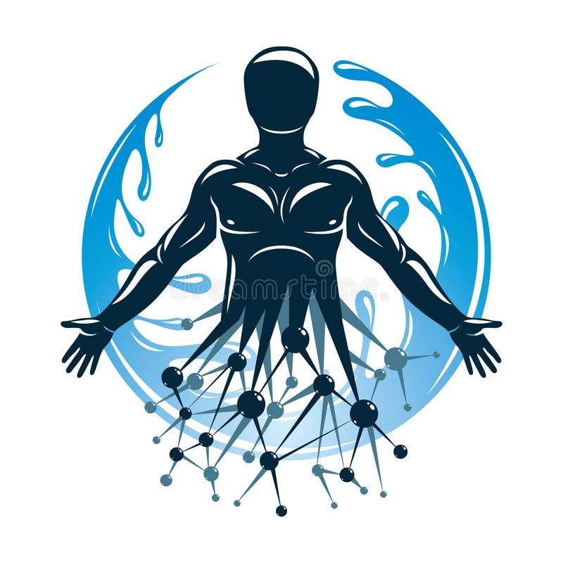 Athletic man vector illustration made using futuristic molecular. Connections and surrounded by a water ball. Eco friendly technology, renewable alternative stock illustration