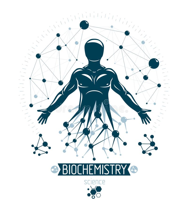 Athletic man vector illustration made using futuristic molecular. Connections. Human as the object of biochemistry research, genetic engineering royalty free illustration