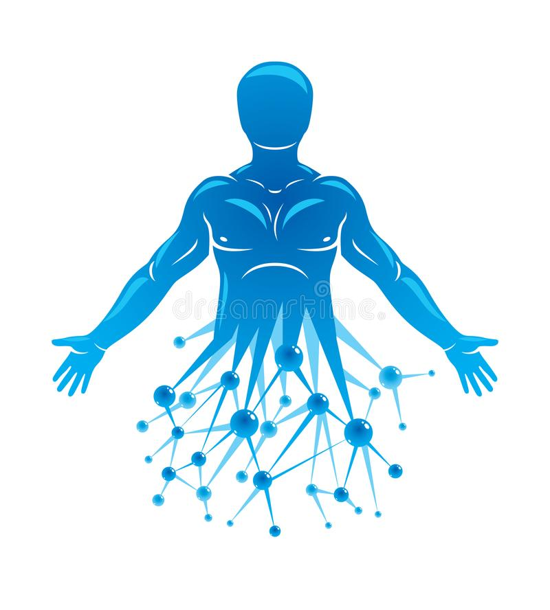 Athletic man vector illustration made using futuristic molecular. Connections. Human as the object of biochemistry research, genetic engineering vector illustration