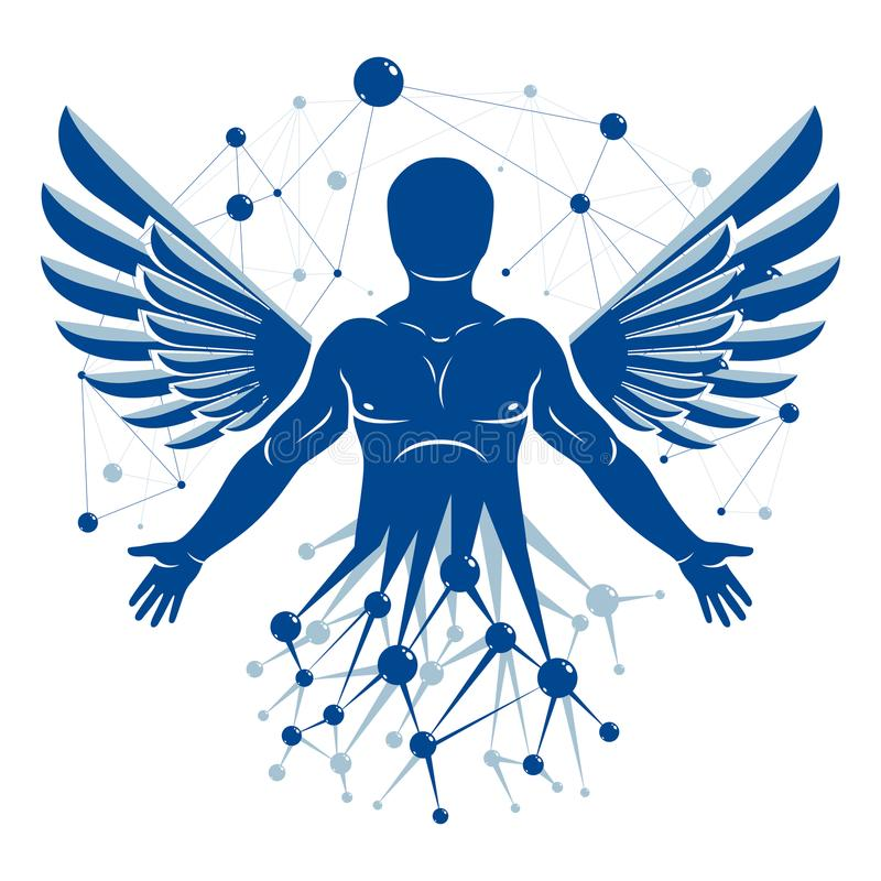 Athletic man vector illustration made with wireframe mesh connections and bird wings. Biotechnology in medicine. vector illustration