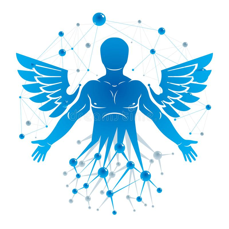 Athletic man vector illustration made with wireframe mesh connections and bird wings. Biotechnology in medicine. stock illustration