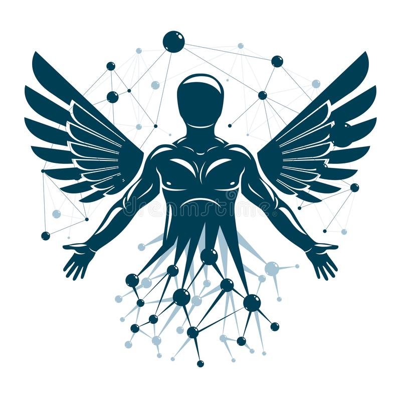 Athletic man vector illustration made with wireframe mesh connections and bird wings. Biotechnology in medicine royalty free illustration