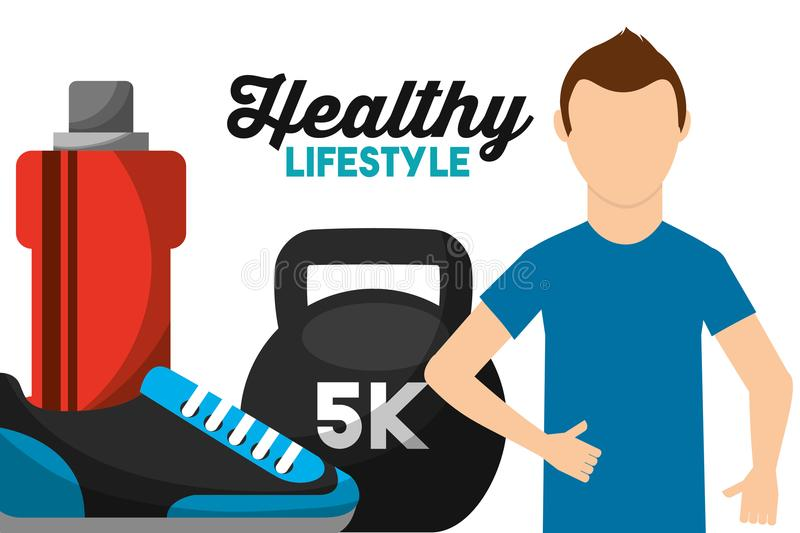 Athletic man weight water and sneaker healthy lifestyle royalty free illustration