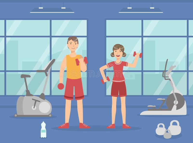 Athletic Man and Woman Exercising with Dumbbells, Sport Gym Interior with Workout Equipment Vector Illustration. Web Design royalty free illustration
