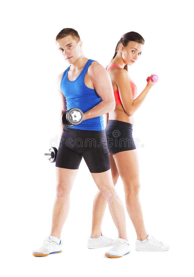 Athletic man and woman royalty free stock photo