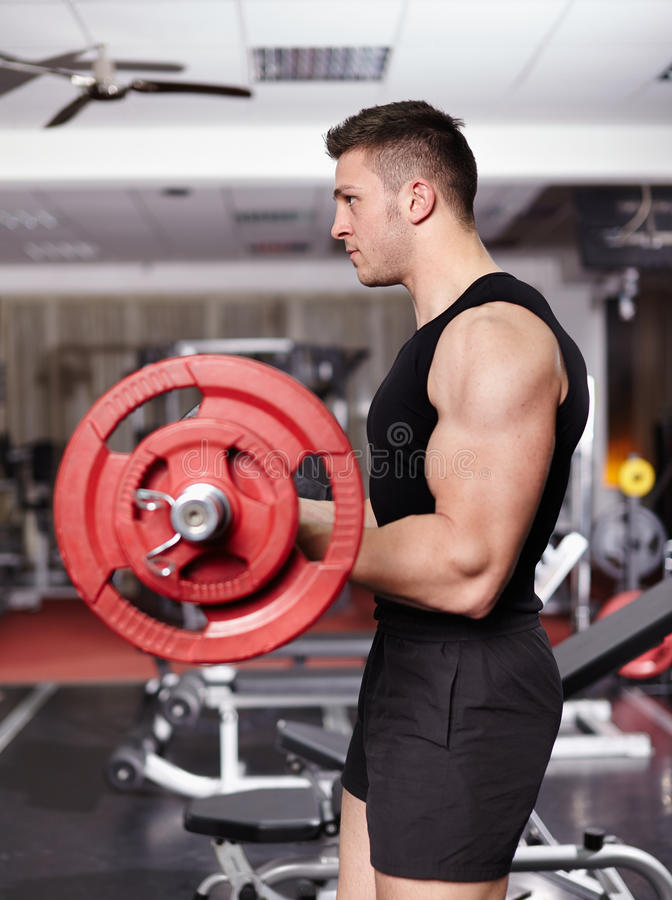 Download Athletic Man Working With Barbell Stock Image - Image: 36397345