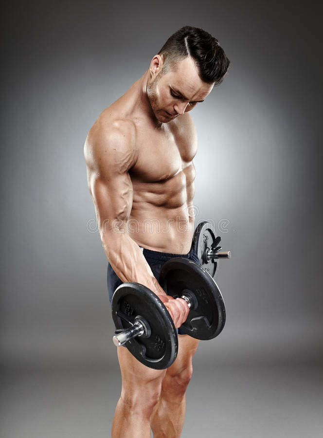 Download Athletic Man Working Out With Dumbbells Stock Image - Image: 39893289