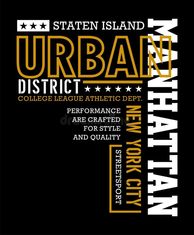 Athletic Manhattan Typography Design stock illustration