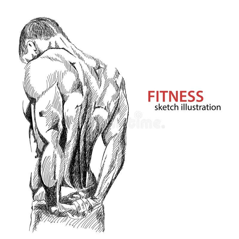 Athletic mans back vector illustration