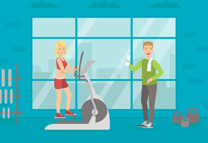 Athletic People Doing Sport Exercises in Gym, Woman Running on Treadmill, Sport Gym Interior with Workout Equipment vector illustration