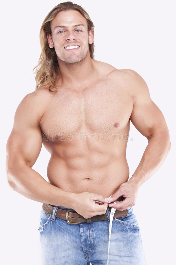 Athletic male body builder royalty free stock photo