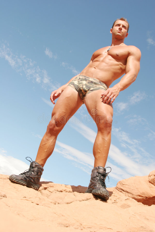 Athletic man - washboard abs royalty free stock photos