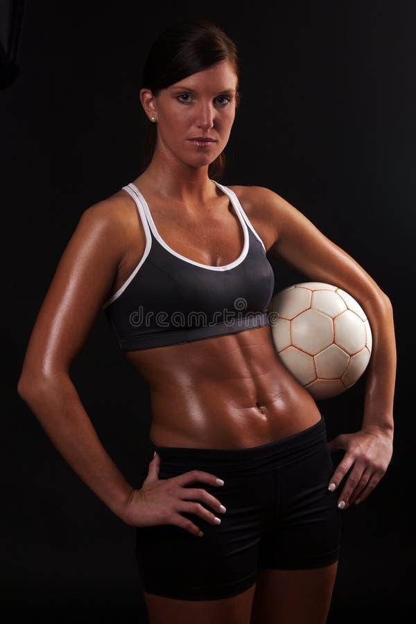 Download Athletic Soccer Girl On Black Stock Image - Image: 23916311