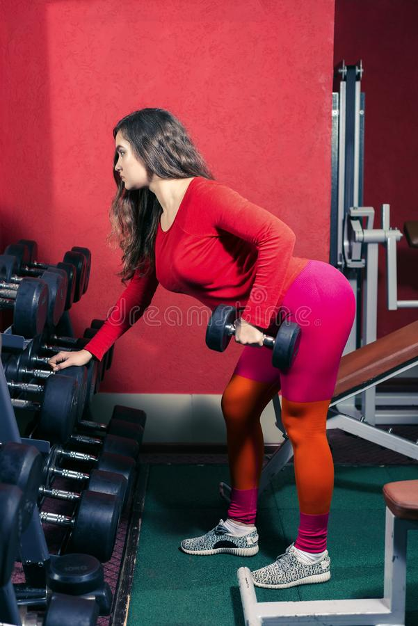 Sports girl in leggins trains in the gym. woman lifts a dumbbell. sports fitness and weightlifting. Athletic sports girl in red leggins trains in the gym. woman royalty free stock images