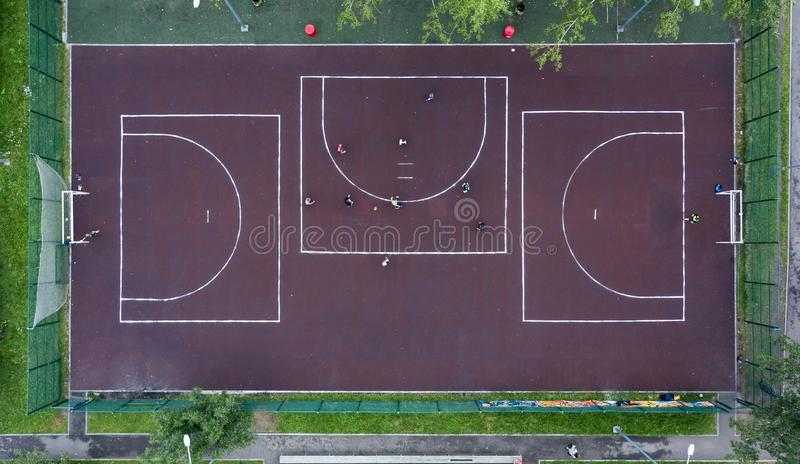 Athletic stadium and football grass pitch, aerial top down view. royalty free stock photo