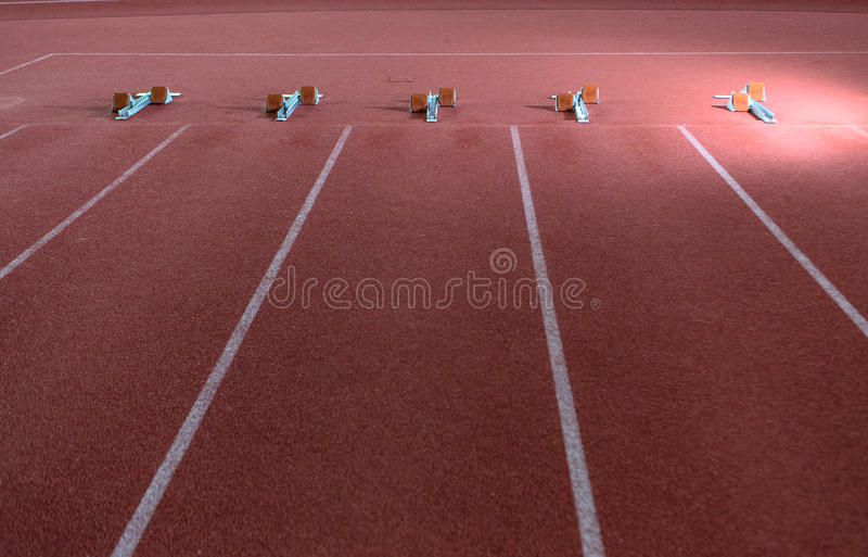 Athletic track and equipment. Athletic hall track and equipment in daylight stock images