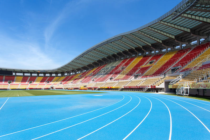 Athletic track of National Arena Philip II, Skopje, Macedonia royalty free stock images