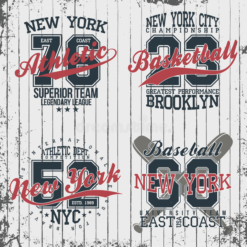 Athletic vintage t-shirt graphic designs. Set of print stamps, athletic, baseball, basketball vector illustration