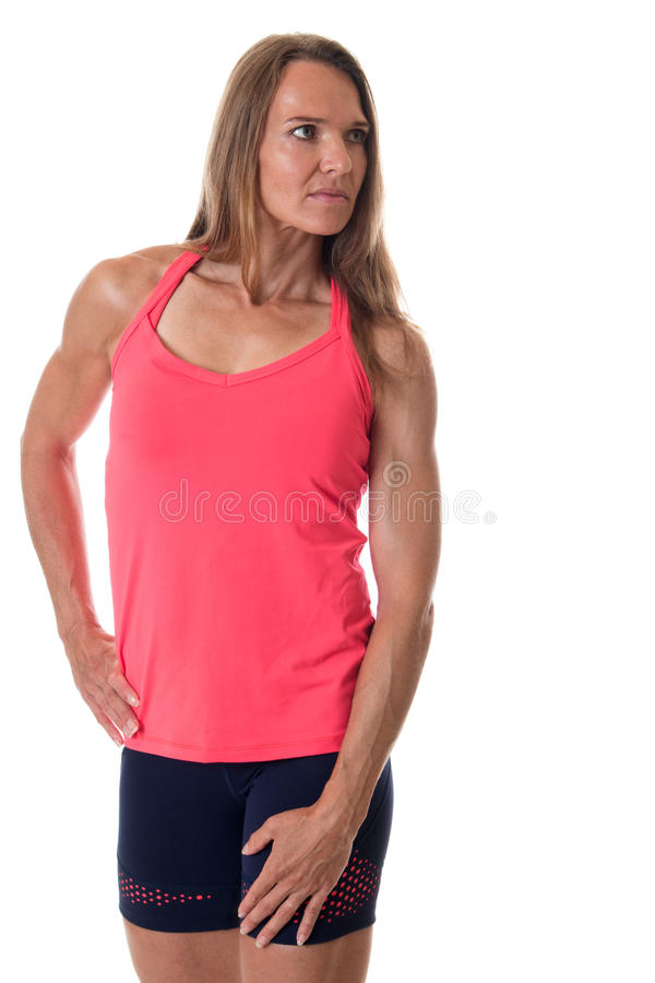 Athletic Woman. Athletic adult woman. Studio shot over white stock photography