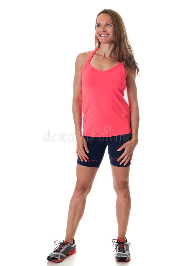 Athletic Woman. Athletic adult woman. Studio shot over white royalty free stock image