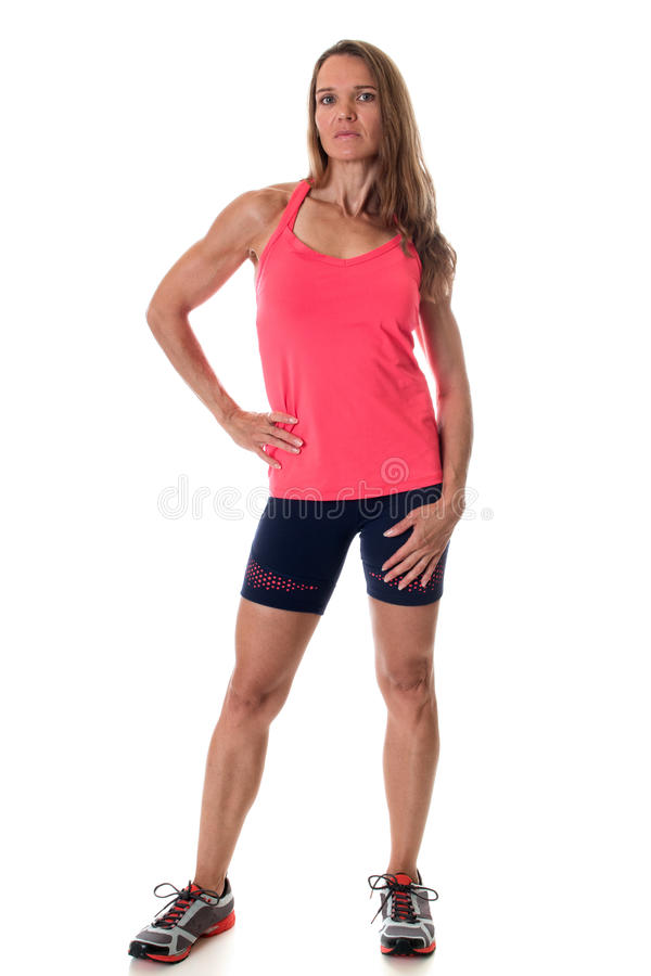 Athletic Woman. Athletic adult woman. Studio shot over white stock photos