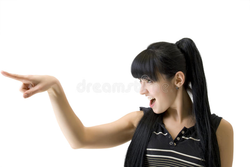 Download Athletic Woman Pointing A Finger In The Direction Stock Image - Image of hair, caucasian: 12303923