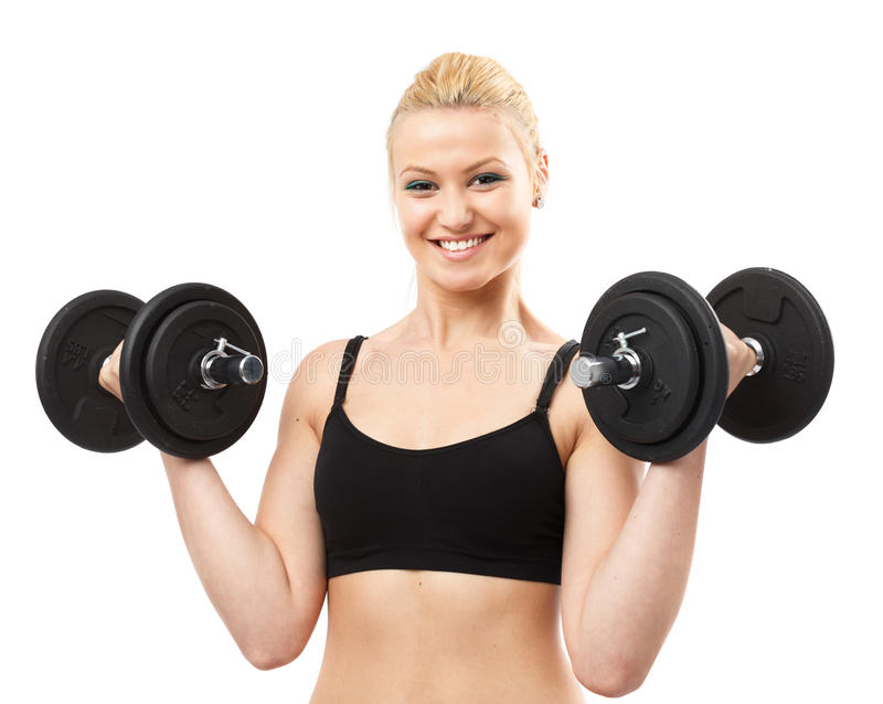 Download Athletic Young Lady Working Out With Weights Stock Image - Image: 24256315