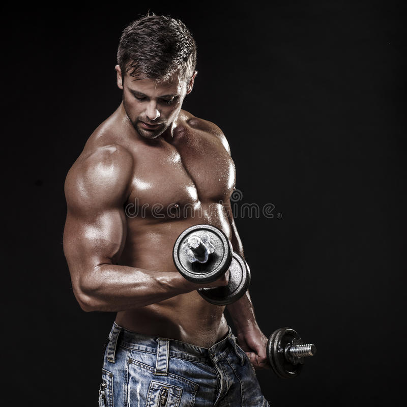 Download Athletic Young Man On Black Background Stock Photo - Image: 41786442
