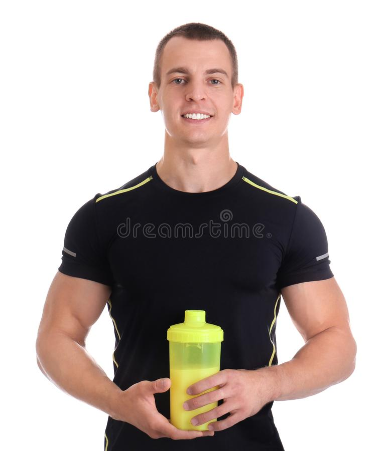 Athletic young man with  shake on white background stock images