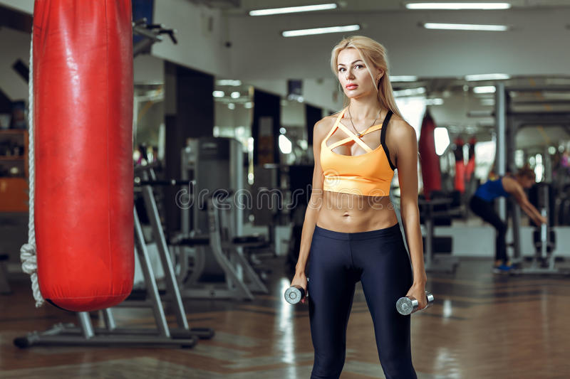 Athletic young woman doing exercises with dumbbells in gym royalty free stock image