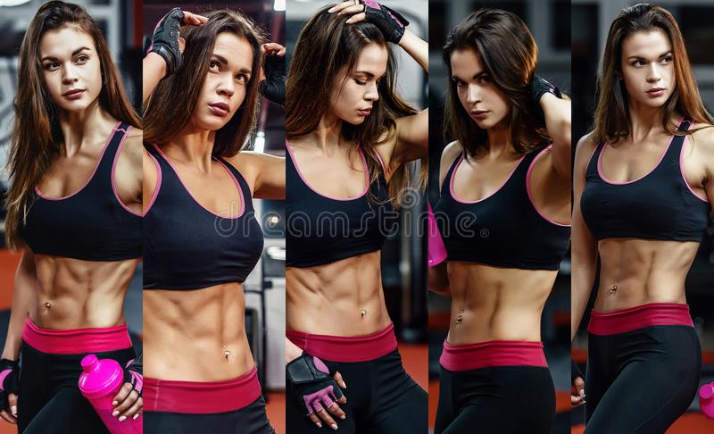 Athletic young woman after hard workout at gym. Fitness girl holds shaker with sportive nutrition. Collage of photo. Athletic young woman after hard workout at royalty free stock photography