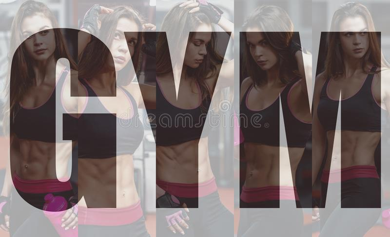 Athletic young woman after hard workout at gym. Fitness girl holds shaker with sportive nutrition. Collage of photo. stock images