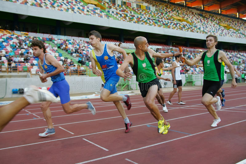 Athletics Championship, 4x400 meters men stock image