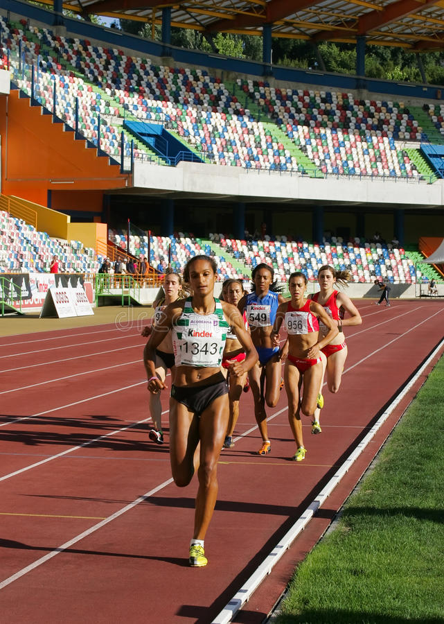 Athletics Championship, Sandra Teixeira stock photo