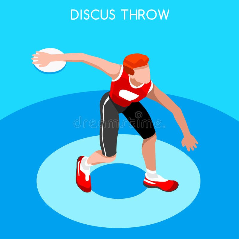 Athletics Discus Throw Summer Games Icon Set.3D Isometric Athlete.Sporting Championship International Competition. royalty free illustration