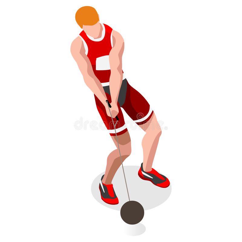 Free Athletics Hammer Throw Olympics Summer Games Icon Set.3D Isometric Athlete.Sporting Championship International Competition.Sport Royalty Free Stock Photography - 73533147