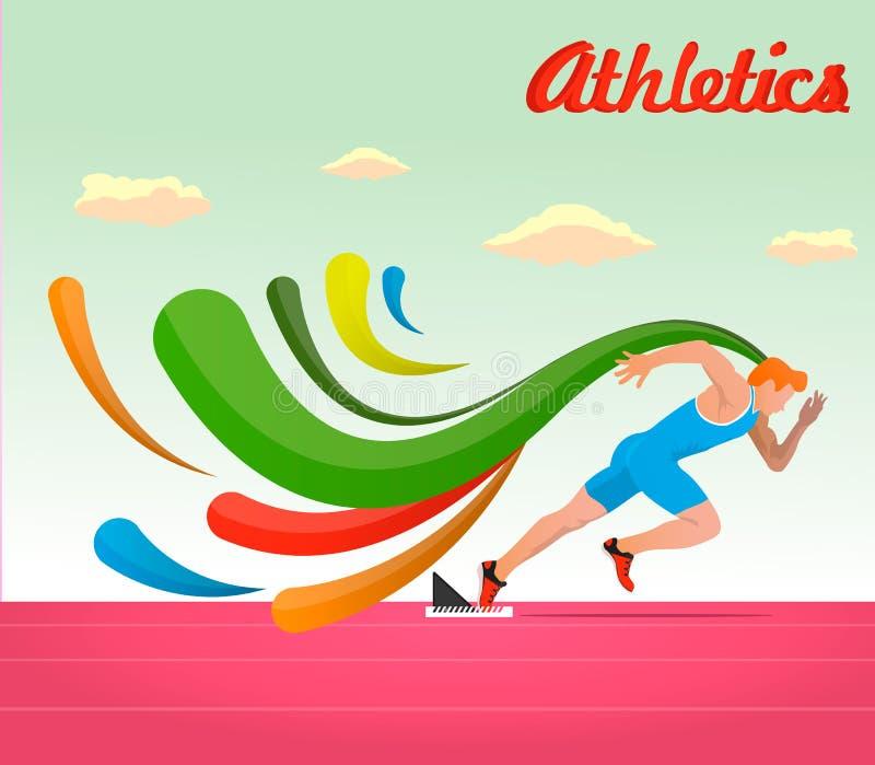 athletics O atleta corre 100 medidores ilustração royalty free