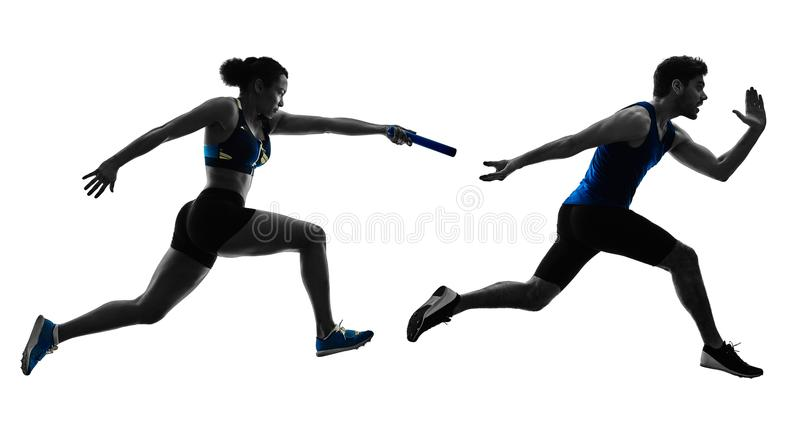 Athletics relay runners sprinters running runners isolated silho. Athletics relay runners sprinters running runners in silhouette isolated on white background stock images